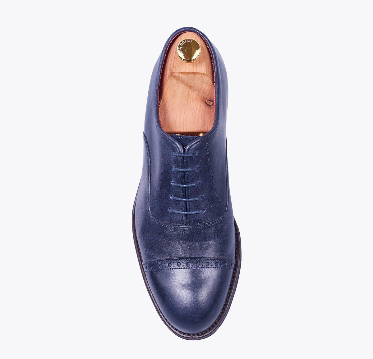 Zapato 0058 azul hecho a mano en mandalashoes, Santanyí Mallorca. Hand made shoes. Nach Mass Schuhe