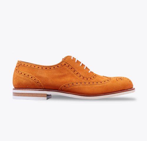 Zapato budapest mandarina hecho a mano en mandalashoes, Santanyí Mallorca. Hand made shoes. Nach Mass Schuhe