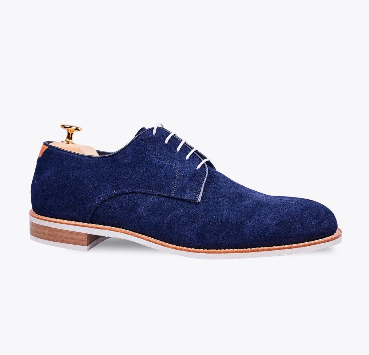 Zapato Summer 1 azul marino hecho a mano en mandalashoes, Santanyí Mallorca. Hand made shoes. Nach Mass Schuhe