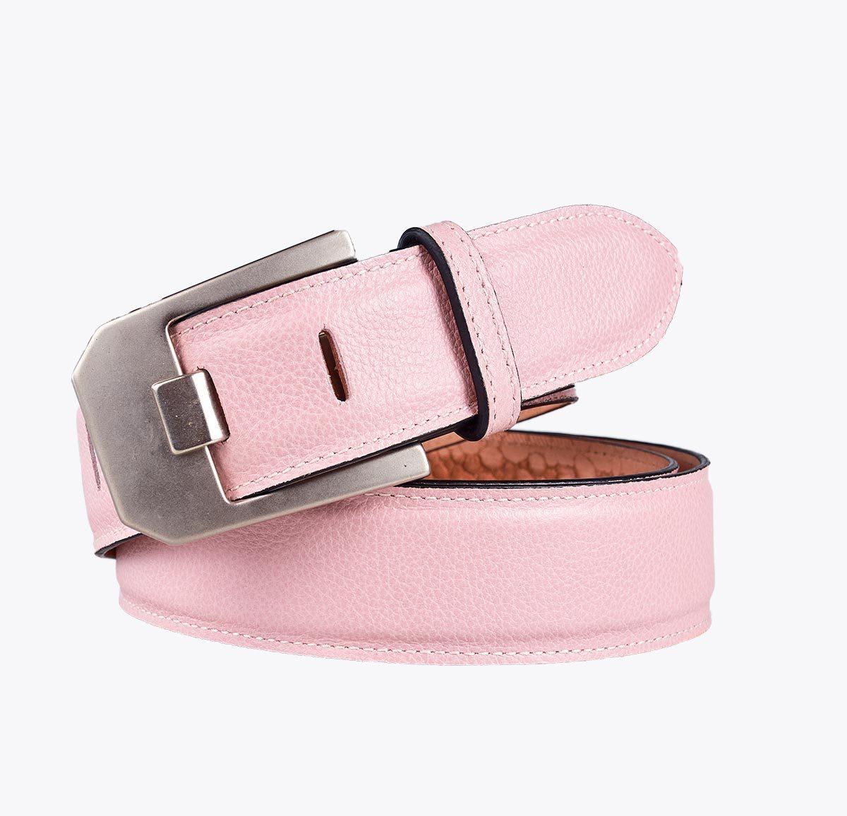Cinturón grabado hebilla cuadrada rosa Accesorios y complementos en mandalashoes. Accessories in mandalashoes. Zubehör in Mandalas.