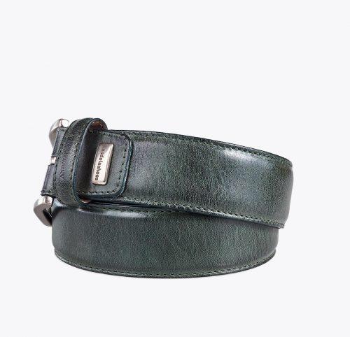 Cinturón vacuno verde. Accesorios y complementos en mandalashoes. Accessories in mandalashoes. Zubehör in Mandalas.