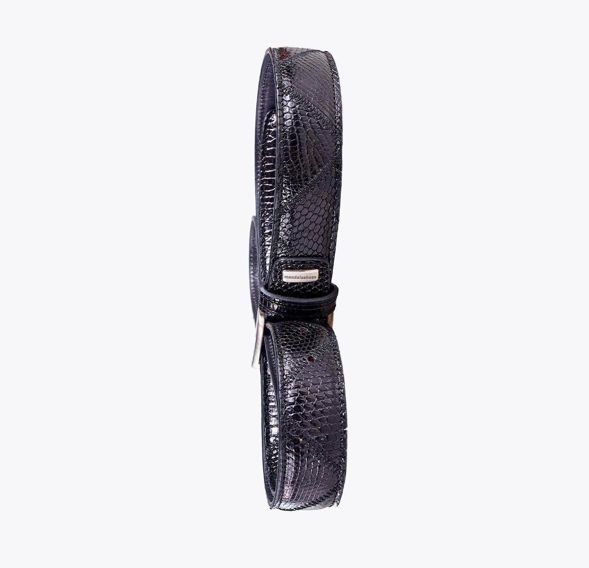 Cinturón varano negro Accesorios y complementos en mandalashoes. Accessories in mandalashoes. Zubehör in Mandalas.