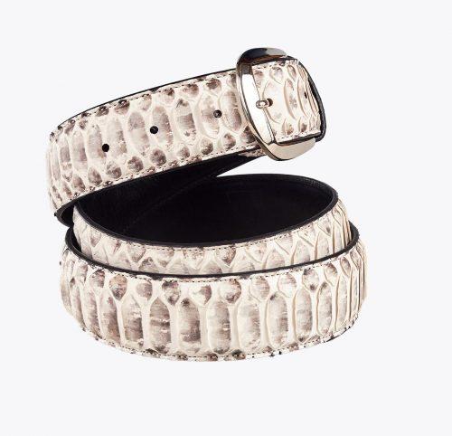 Cinturón pitón escama central blanco Accesorios y complementos en mandalashoes. Accessories in mandalashoes. Zubehör in Mandalas.
