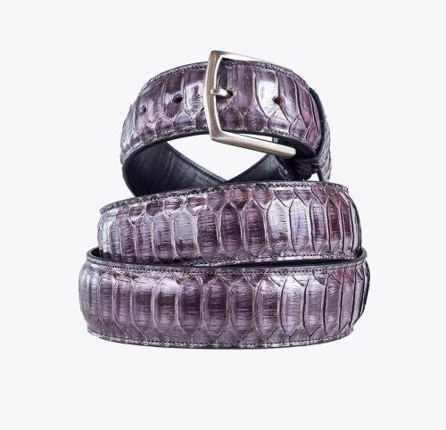 Cinturón pitón escama central gris Accesorios y complementos en mandalashoes. Accessories in mandalashoes. Zubehör in Mandalas.