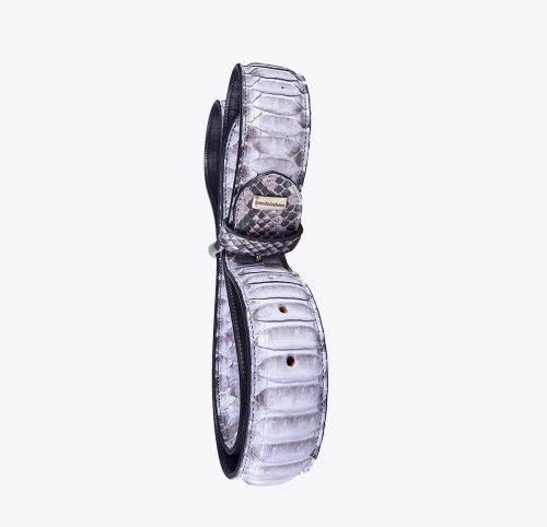 Cinturón pitón escama central perla Accesorios y complementos en mandalashoes. Accessories in mandalashoes. Zubehör in Mandalas.