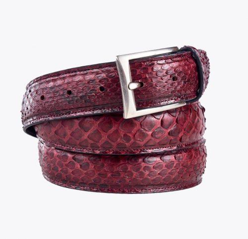 Cinturón pitón burdeos. Accesorios y complementos en mandalashoes. Accessories in mandalashoes. Zubehör in Mandalas.