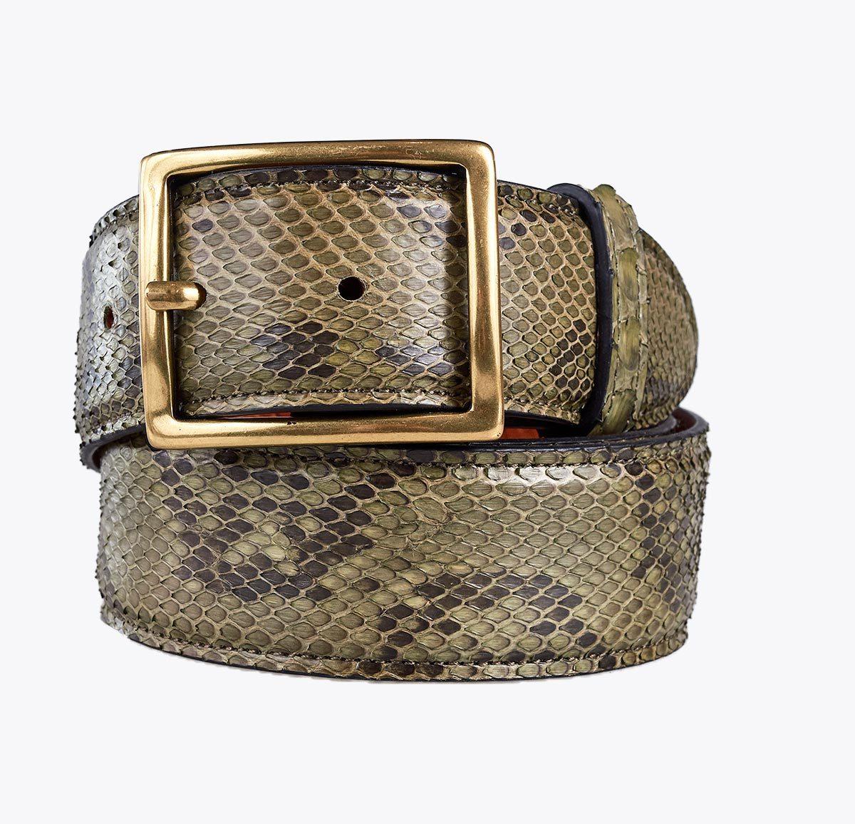 Cinturón pitón verde. Accesorios y complementos en mandalashoes. Accessories in mandalashoes. Zubehör in Mandalas.