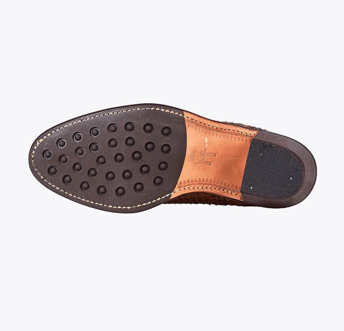 Botín Moldeada tacón pitón marrón, tailor made shoes, schuhe nach mass en mandalashoes Santanyí Mallorca