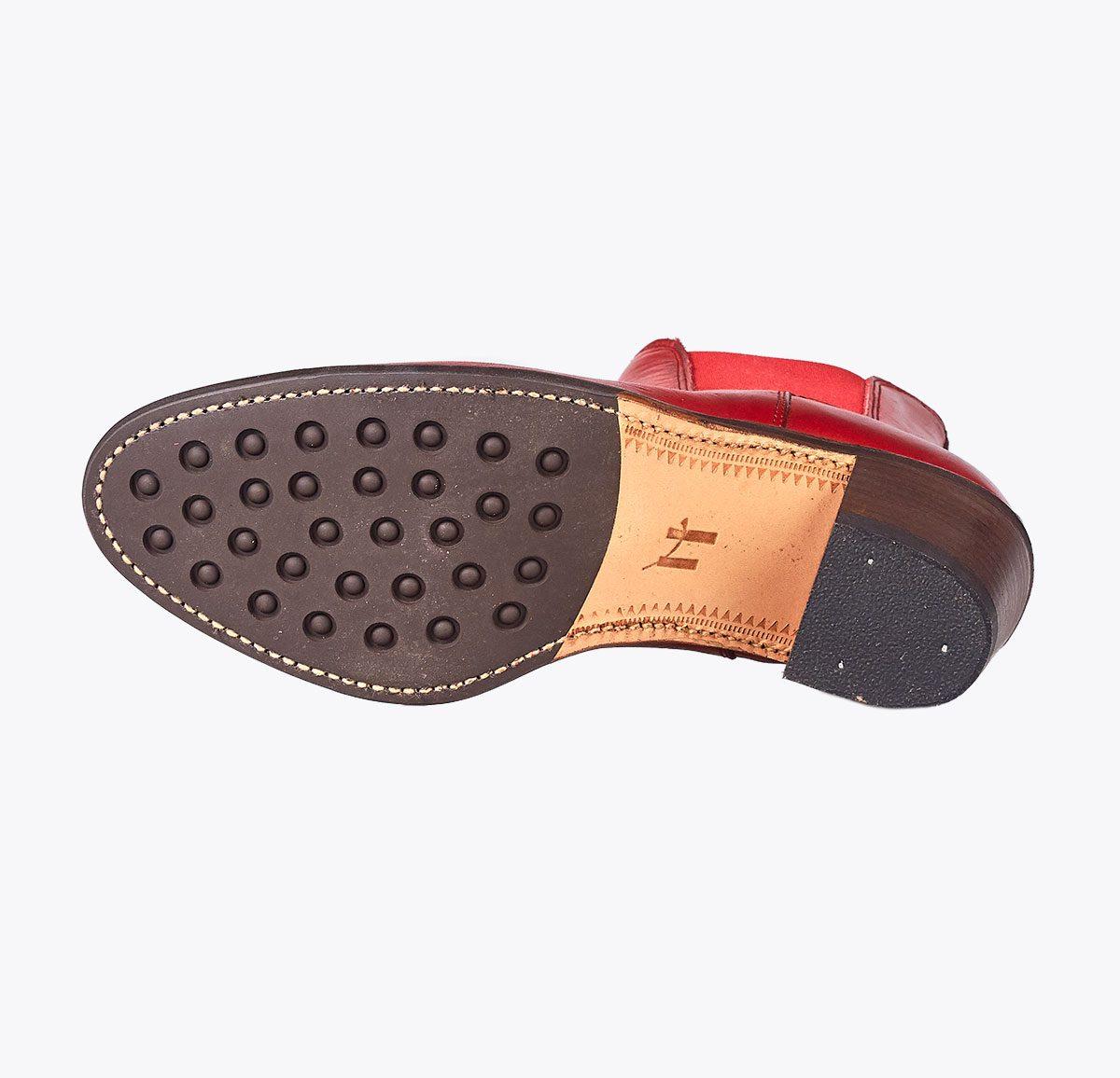 Botín Moldeada tacón rojo, tailor made shoes, schuhe nach mass en mandalashoes Santanyí Mallorca