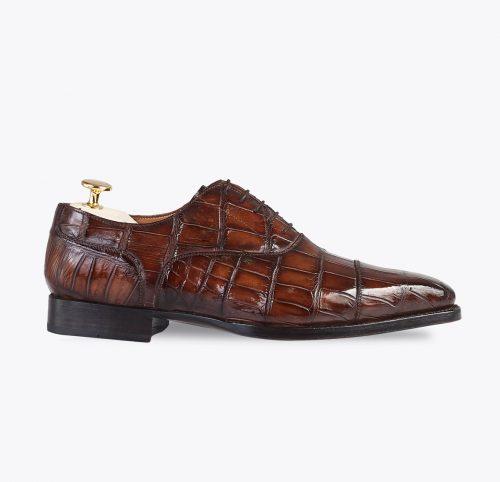 Zapato oxford cocodrilo hecho a mano en Mandalashoes. Hand made shoes. Schuhe nach mass